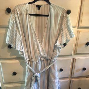 Baby blue stripe faux wrap dress size 3